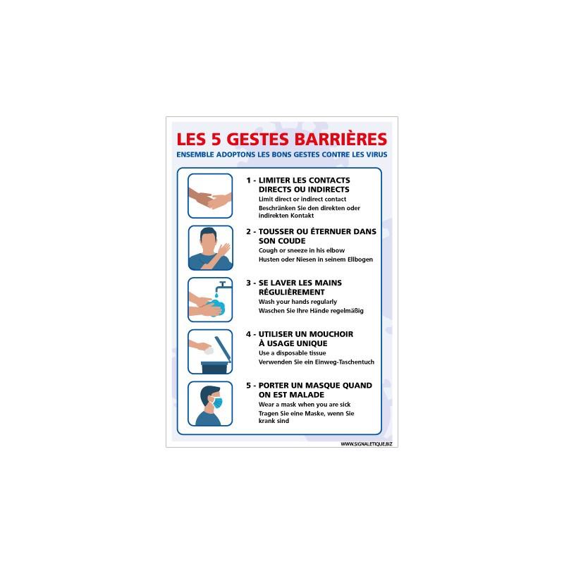 PANNEAU DE PREVENTION CORONAVIRUS - LES GESTES BARRIERES A ADOPTER POUR LUTTER CONTRE LE VIRUS COVID-19